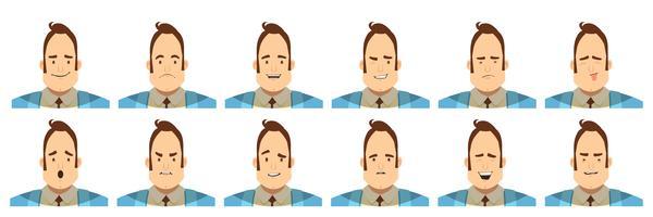 Männliche Gefühle Avatare Set Cartoon-Stil vektor