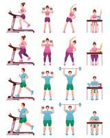 fett smal fitness människor ikonuppsättning vektor