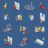 Rörmokare Isometric People Icon Set