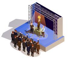 Business Award Vinnare Podium Isometrisk Isometrisk Bild