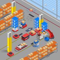 Isometrischer Hintergrund des Roboterlagers
