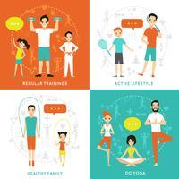 Gesundes Familien-flaches Konzept