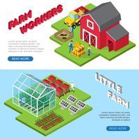 Liten gårdsbruksfaciliteter Isometriska banderoller vektor