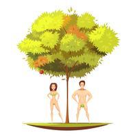 Adam Eve unter Apfelbaum-Karikatur-Illustration