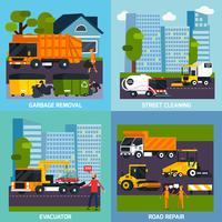 Flaches Design-Konzept für den Spezialtransport 2x2