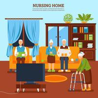 Ältere Pflege Indoor Zusammensetzung vektor