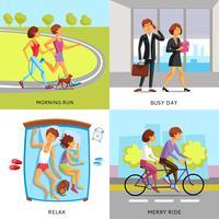 Lebensstil Menschen 2x2 Kompositionen vektor