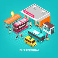 Bussterminalisometrisk illustration