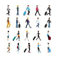 Leute und Gepäcksatz