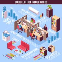 Cubicle Office Infographics isometrisk layout