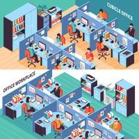 Leute in den Büro-Kabinen-isometrischen Fahnen