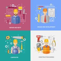 Quadratische Zusammensetzungsfahne des Bauarbeitskonzeptes