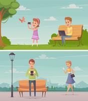 Människor med gadgets utomhus kompositioner vektor