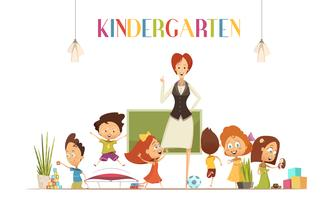 Kindergarden Lärare Med Barn Tecknad Illustration