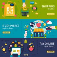 E-handel Shopping Horisontella Banderoller vektor