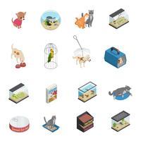 sällskapsdjur butik ikoner uppsättning