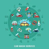 Car Wash Runde Zusammensetzung vektor