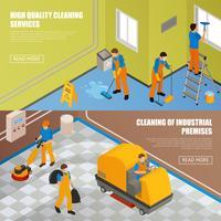 Isometrische industrielle Reinigungsfahnenset