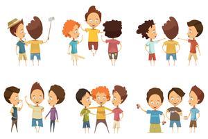 Grupper av pojkar Cartoon Style Set
