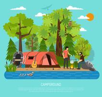Campingplatz-Erholungs-Familien-Sommer-Zelt-Plakat vektor