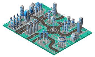 framtida city isometrisk komposition vektor