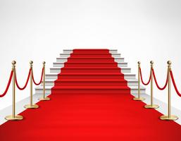 Realistische Illustration der roten Teppich-weißen Treppe