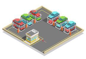Automatisk parkering isometrisk koncept