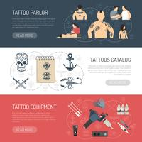 Tattoo Studio Horisontal Banner Set vektor