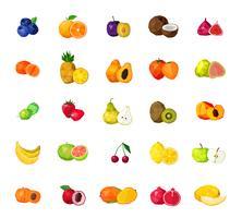 Friska Frukter Stora Polygonala Ikoner Set
