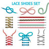 Färgrik Shoelace Icon Set vektor
