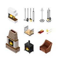 Isometric Elements Set Fireplace Set