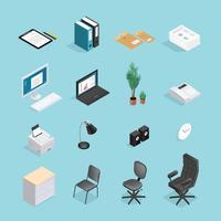 Kontorsmaterial Isometrisk Icon Set
