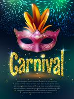 Karneval Masquerade bakgrundsaffisch vektor