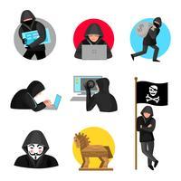 Hackers Tecken Symboler Ikoner Samling
