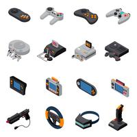 spel gadgets isometrisk ikoner samling