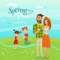 Familien- und Jahreszeitfrühlings-Illustration
