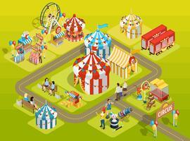 Reise-Zirkus-Rummelplatz-isometrisches Plan-Plakat