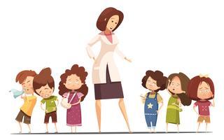 Kindergarten-Lebensmittel, das Situations-Karikatur-Plakat aufhebt