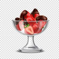 Realistisk jordgubb i chokladkomposition