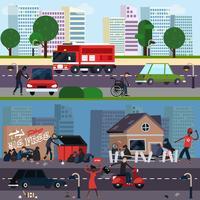 Downtown und Ghetto Charakter Zusammensetzung Set vektor