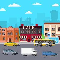 street cafe urban komposition vektor