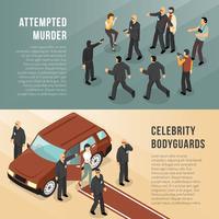 Celebrity Bodyguards 2 Isometric Banners vektor