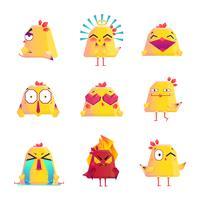 Roliga Chicken Cartoon Character Icons Set vektor