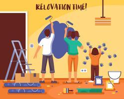 Renoveringstid Flat Vector Illustration