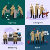 Flaches Konzept des Spions