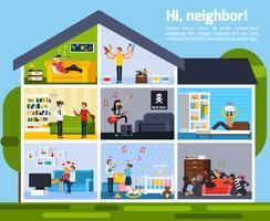 Nachbarschaftskonflikte Zusammensetzung vektor