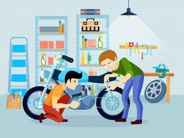 Motorradzusammensetzung reparieren vektor