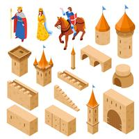 Mittelalterliches königliches Schloss isometrisches Set