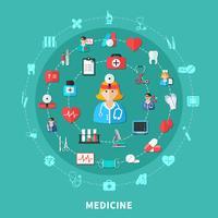 Medicin platt rund sammansättning vektor