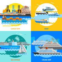 Vattentransport 2x2 plattdesignsuppsättning vektor